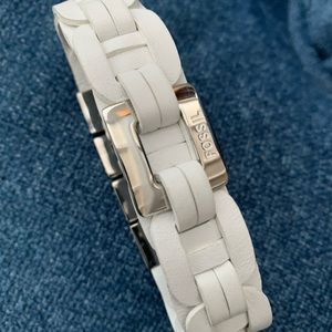 Fossil leather white bracelet with silver detail